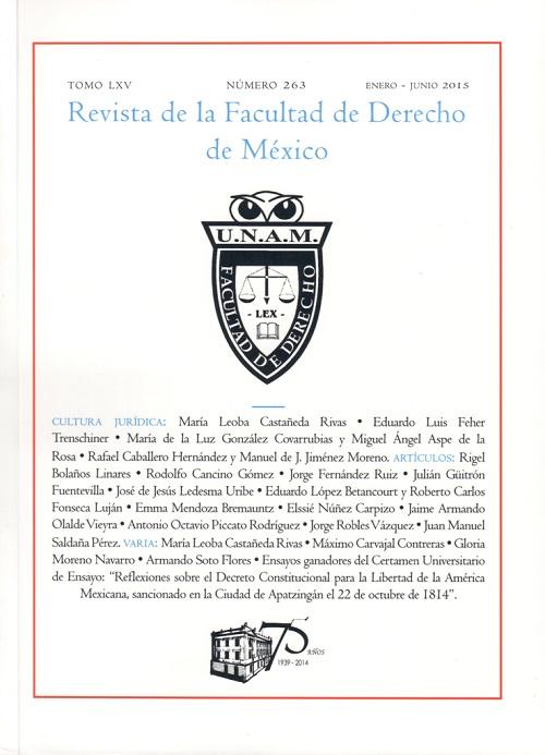 Revista de la Facultad de Derecho de México tomo lxv Número 263 Ener-junio 2015