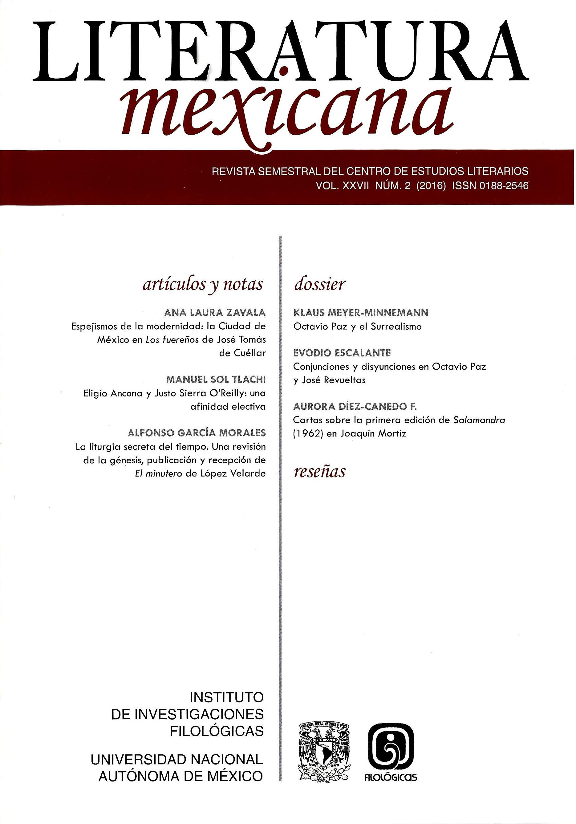 Literatura mexicana, vol. XXVII, núm. 2 (2016)