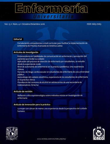 Revista de Enfermería Universitaria, vol. 13, núm. 4, oct-dic, 2016