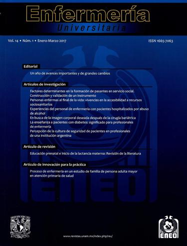 Enfermería Universitaria, vol. 14, núm. 1, enero-marzo 2017