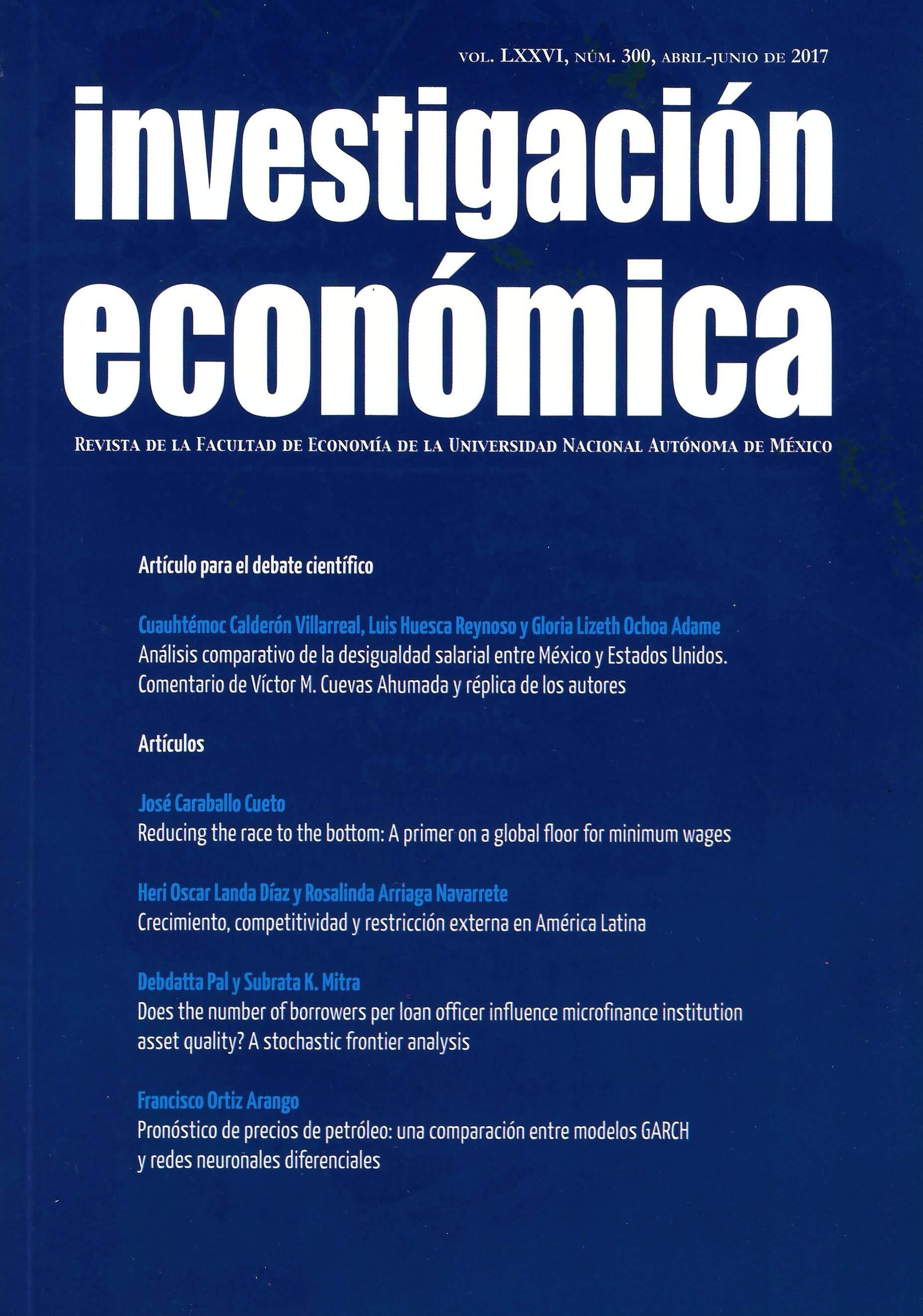 Investigación económica, vol. LXXVI, núm. 300, abril-junio de 2017