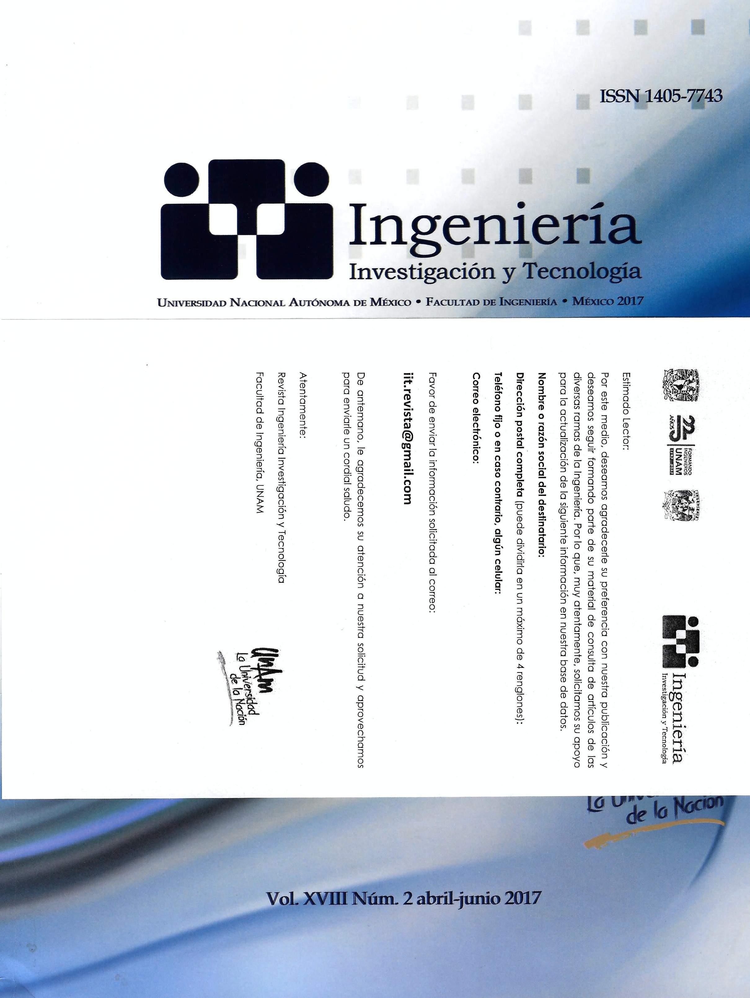 Revista ingeniería, investigación y tecnología, vol. XVIII, núm. 2, abr-jun, 2017