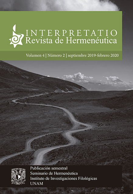 Interpretatio. Revista de Hermenéutica, vol. 4, núm. 2, septiembre 2019 - febrero 2020
