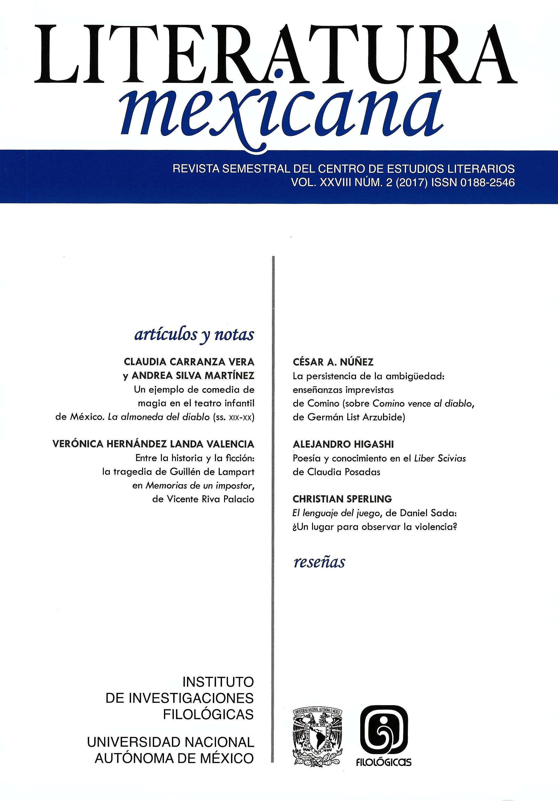 Literatura Mexicana, vol. XXVIII, núm. 2 (2017)
