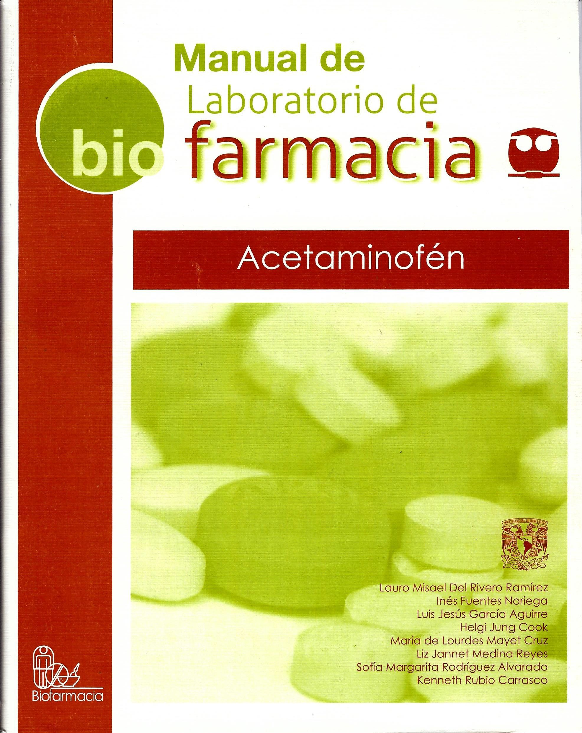 Manual de laboratorio de farmacia. Acetaminofén