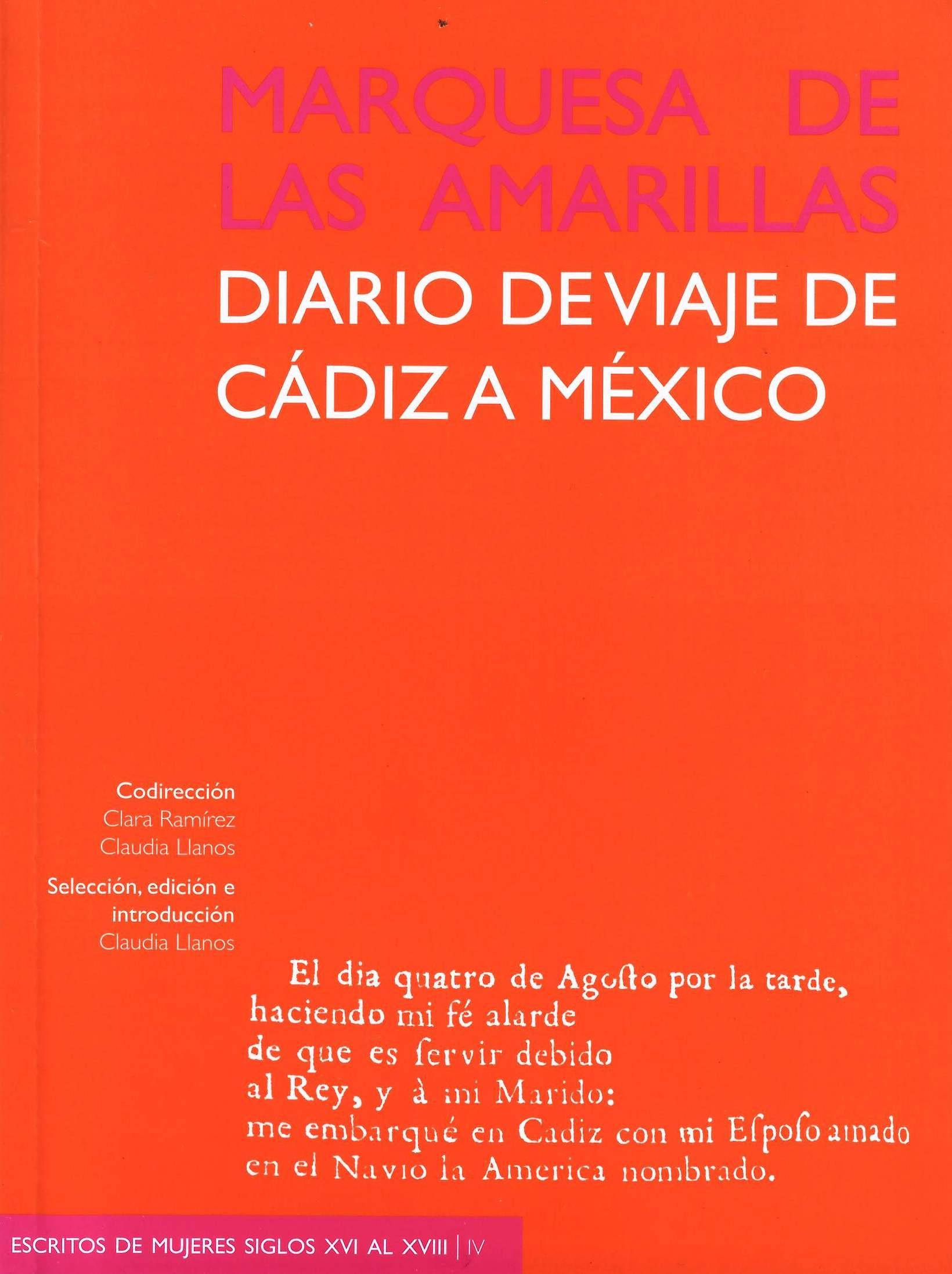 Marquesa de las Amarillas: diario de viaje de Cádiz a México