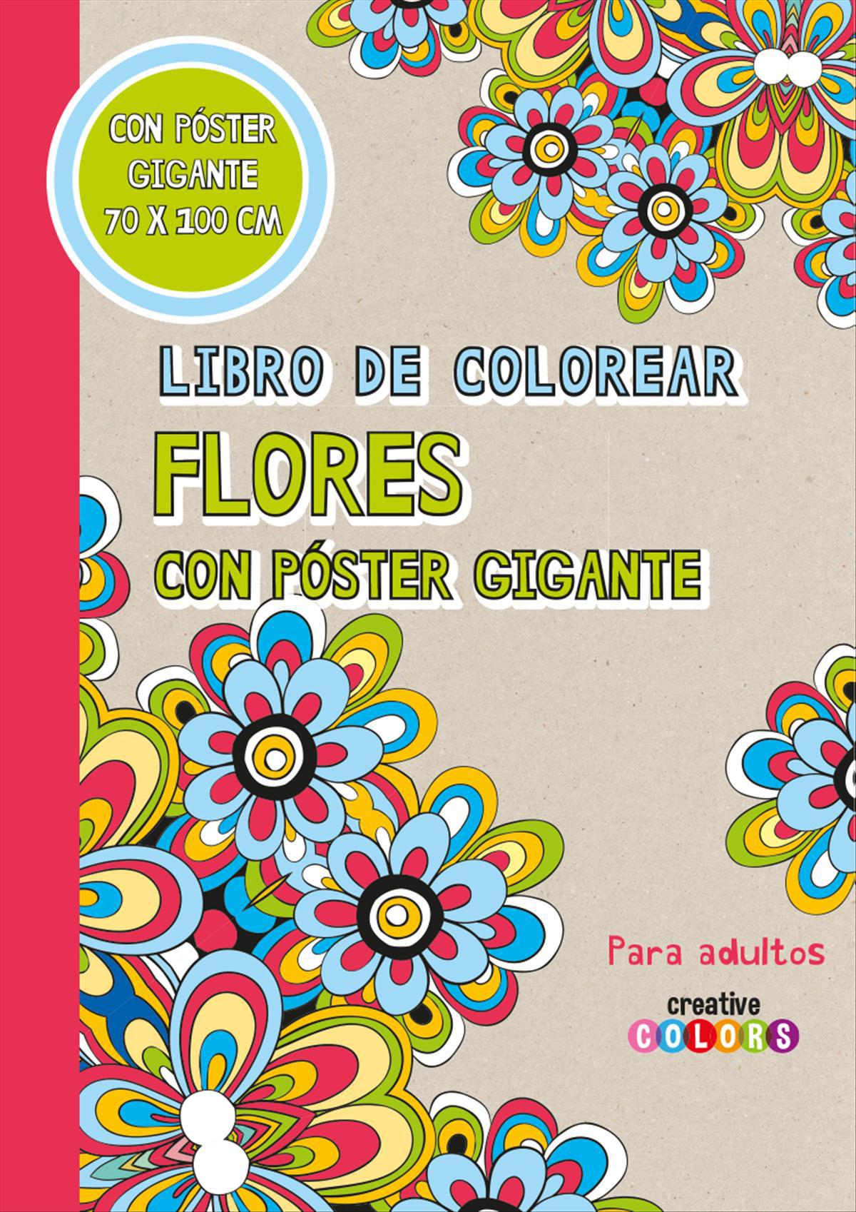 Libro de colorear flores con poster gigante