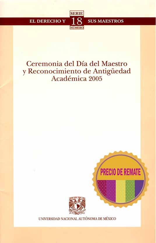 Ceremonia del día del maestro y reconocimiento de antigüedad académica 2005