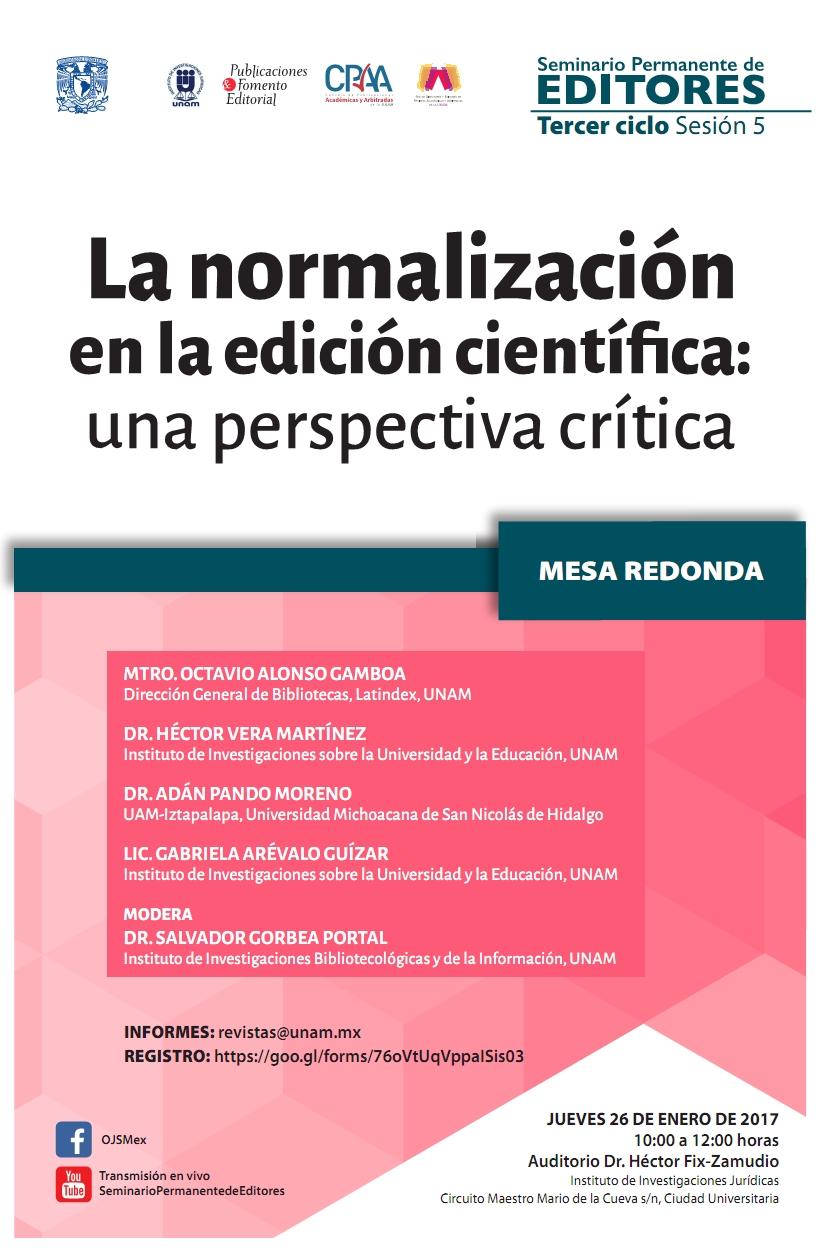 Mesa redonda sobre criterios de edición científica en el Seminario Permanente de Editores